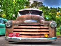 1950s classic American Chevy pickup truck. 1950s classic rusty American Chevy pickup truck on display at the 2018 Victorian Hot Rod and Cool Rides car show in Royalty Free Stock Images