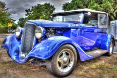 1930s classic American Chevy sedan. 1930s classic blue American made Chevrolet sedan on display at car show in Melbourne, Australia Stock Photo