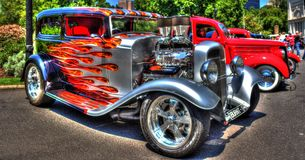 1930s classic American Ford hot rod. 1930s classic black American Ford hot rod at the 2018 Victorian Hot Rods and Cool Rides car show held every year in Stock Image