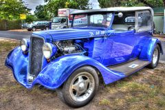 1930s classic American Chevy sedan. 1930s classic blue American made Chevrolet sedan on display at car show in Melbourne, Australia Stock Images