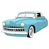 1950s classic car. A unique illustration of a blue classic car from the 1950s with cartoon style colour and shading royalty free illustration