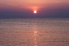 Panorama of sunset at sea. royalty free stock images