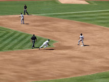 A's Coco Crisp runs towards second base as he attemps to steal t Stock Photos