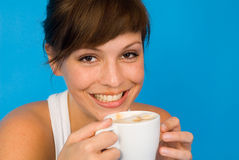 It's coffee time. A woman with a cup of coffee Royalty Free Stock Photo