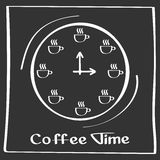 It s coffee time. Hand drawing poster with phrase decor elements. Typography card, image with lettering. Design elements. It s coffee time. Vector poster with Stock Photo