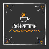 It s coffee time. Hand drawing poster with phrase decor elements. Typography card, image with lettering. Design elements. It s coffee time. Vector poster with Royalty Free Stock Photo