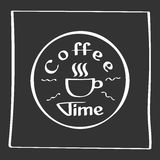 It s coffee time. Hand drawing poster with phrase decor elements. Typography card, image with lettering. Design elements Royalty Free Stock Photography