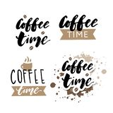 It's coffee time phrase. Ink illustration. Modern brush calligraphy. Isolated on white background. Quote lettering cafe card drink poster print typography royalty free illustration