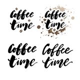 It's coffee time phrase. Ink illustration. Modern brush calligraphy. Isolated on white background. Quote lettering cafe card drink poster print typography stock illustration
