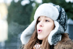 It's so cold outdoors!. Winter collection: portrait of beautiful woman in wintertime Stock Image
