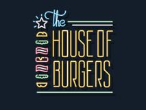 The house of burgers open 24-7 neon sign. It`s a colorful glowing neon sign advertising fastfood and eating out Royalty Free Stock Images