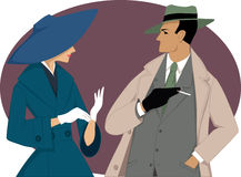 1950s couple. Portrait of a couple dressed in 1950s fashion, vector illustration, no transparencies, EPS 8 Stock Photos