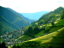 S.Cristina valley. A landscape of S,Cristina with her green falls in Gardena Valley Stock Image