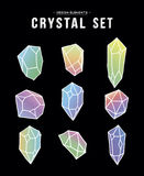 80s crystal set of colorful icons and symbols Stock Photography