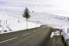 Road in mountains - winter Vosges, France royalty free stock photo