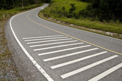 S Curve and cross walk way Royalty Free Stock Photo