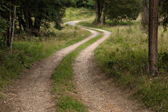 S curve dirt road stock image