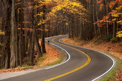 S-curve in Great Smokey Mountains. S-curve in a mountain roadway that goes through the forest, shot in the Great Smokey Mountains during fall leave changes Stock Image