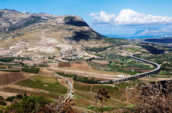 S-Curve Highway Overpass in the valley near Segesta, Sicily, Ita Royalty Free Stock Photos