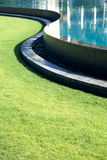 S-curve of pool line with grass. And copy space Stock Photos