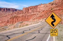 S-Curves Sign. A sign warns of sharp turns ahead on a road in southern Utah royalty free stock photos