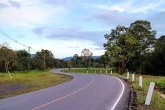 S-curveweg met duidelijke blauwe hemel in de wildernis stock afbeeldingen