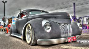 1930s Custom designed American Ford Coupe. 1939 Custom designed black Ford Coupe with pin striping and suicide doors on display at car show in Melbourne Royalty Free Stock Image