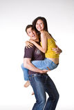 That's cute. Caucasian guy and Asian women had their romantic moments Royalty Free Stock Photography