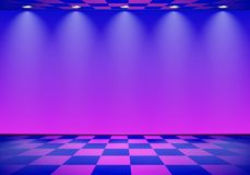 80s a dénommé la pièce de vague de vapeur avec le mur bleu et pourpre au-dessus du plancher vérifié illustration libre de droits