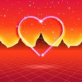 80s a dénommé la rétro carte futuriste avec le coeur au néon dans le wor d'ordinateur illustration stock