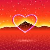 80s a dénommé la rétro carte futuriste avec le coeur au néon en informatique illustration libre de droits