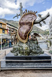 S. Dali in Andorra la Vella. ANDORRA LA VELLA, ANDORRA - NOVEMBER 25, 2014: Central area Andorra la Vella is decorated with sculpture The Nobility of Time by S royalty free stock photos