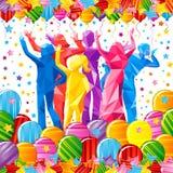 ` S das crianças que dança silhuetas poligonais em um fundo branco ilustração do vetor
