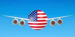` S de American airlines e de voo, voos ao conceito dos EUA rende 3D Foto de Stock