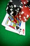 Ás de corações e do jaque preto com microplaquetas de póquer Imagens de Stock