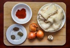 ` S de Ingredience para la sopa de la tripa de la carne de vaca fotografía de archivo libre de regalías