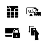 S de la tarjeta de crédito Iconos relacionados simples del vector Imagen de archivo libre de regalías