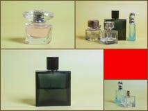 ` S de los hombres y perfume de la mujer en botellas fotos de archivo libres de regalías