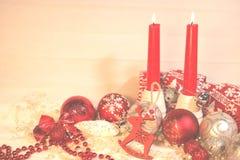 ` S de nouvelle année et décoration de Noël en rouge et la couleur d'argent Image libre de droits