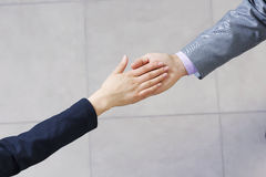 That's deal. Close up of business handshake between two colleagues Stock Photos