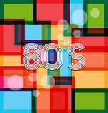 80s decade Art Background style. Color squares with 80s style and typoghraphy Royalty Free Stock Photography