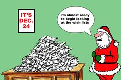 It's December 24. Christmas cartoon showing that it is December 24, there is a large pile of wish lists on the table.  Santa says, I'm almost ready to begin Stock Photography