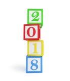` S del Año Nuevo de la caja 2018 del alfabeto Foto de archivo libre de regalías
