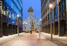 ` S del Año Nuevo de Moscú La iglesia de San Nicolás Foto de archivo