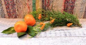 ` S del Año Nuevo y composición de la Navidad con las mandarinas, el thuja y la vela Imagenes de archivo