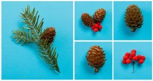 ` S del Año Nuevo y decoración de la Navidad en un fondo azul Imagen de archivo