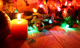 ` S del Año Nuevo y fondo de madera de la Navidad Fotografía de archivo
