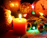` S del Año Nuevo y fondo de madera de la Navidad Imagenes de archivo