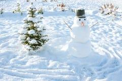 ` S del Año Nuevo y símbolo de la Navidad de un árbol de abeto del día de fiesta y de un snowma Fotos de archivo