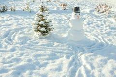 ` S del Año Nuevo y símbolo de la Navidad de un árbol de abeto del día de fiesta y de un snowma Imagen de archivo